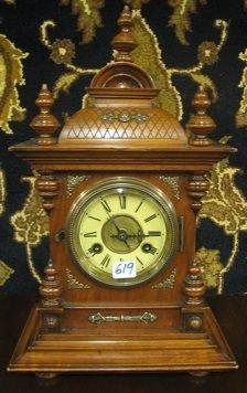619: PETITE WALNUT CASED BRACKET CLOCK, Junghans Clock
