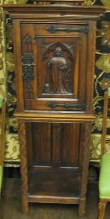 623: CARVED WALNUT CABINET ON STAND, English Gothic  Re