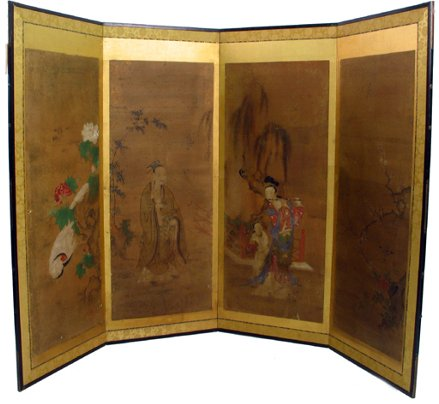 806: JAPANESE HAND PAINTED FLOOR SCREEN from the  Tokug