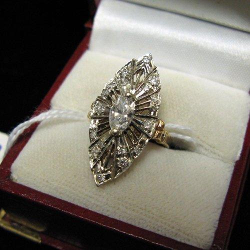 1001: ESTATE DIAMOND, FOURTEEN KARAT WHITE AND YELLOW