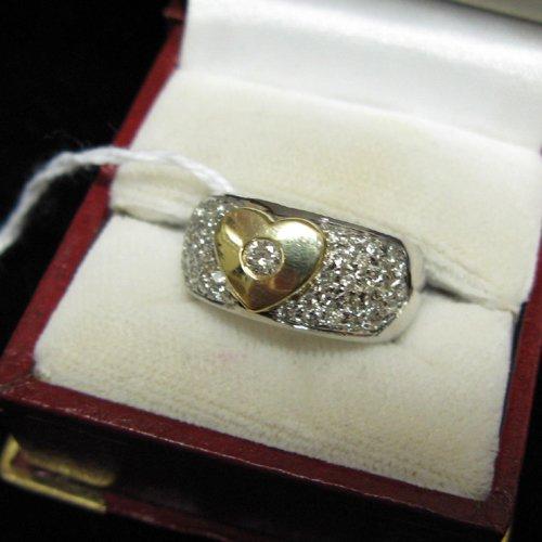 1020: DIAMOND, FOURTEEN KARAT WHITE AND YELLOW GOLD  RI