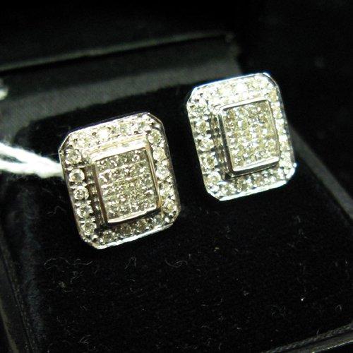 1043: PAIR OF DIAMOND AND FOURTEEN KARAT GOLD  EARRINGS