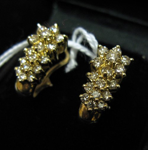 1160: PAIR OF DIAMOND AND FOURTEEN KARAT GOLD CLUSTER