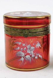 1: A MARY GREGORY CRANBERRY GLASS DRESSER JAR,  having