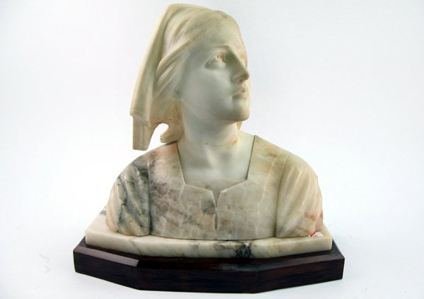 2: MARBLE BUST of a woman wearing head covering.  The s