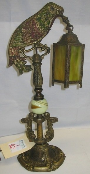 6: A PAINTED FIGURAL PARROT DESK LAMP, the  six-sided s