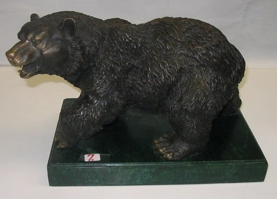7: BRONZE FIGURE OF AN AMERICAN GRIZZLY BEAR (ursus hor