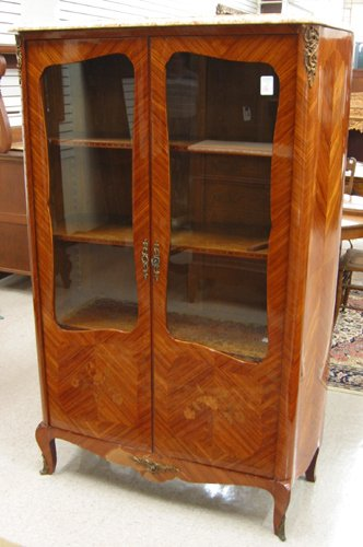 16: LOUIS XV STYLE KINGWOOD CABINET BOOKCASE,  French,