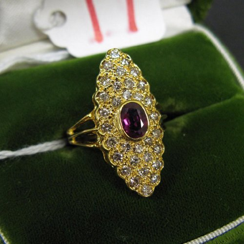 17: RODOLITE GARNET, DIAMOND AND FOURTEEN KARAT GOLD RI