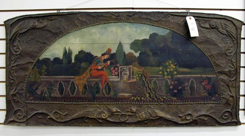 62: AN OVER MANTEL PAINTING ON WOOD, English, c. 1900,t