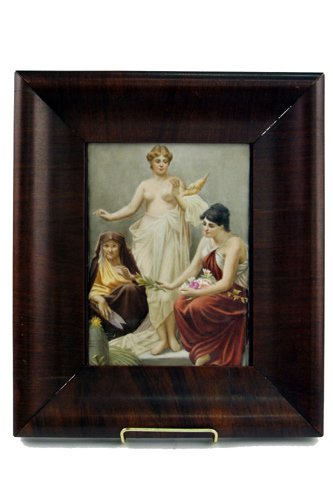 132: KPM PORCELAIN RECTANGULAR PLAQUE, hand painted  wi