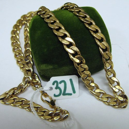 321: FOURTEEN KARAT GOLD CURB LINK CHAIN NECKLACE, 24 i