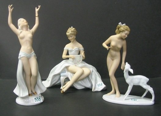 338: A GROUP OF THREE GERMAN ART NOUVEAU STYLE  FIGURES