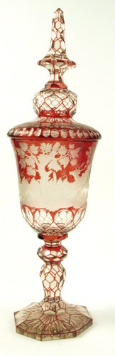 605: A GERMAN COVERED LARGE DRINKING CUP, etched and  h