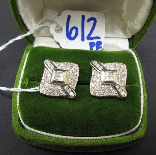 612: PAIR OR DIAMOND AND FOURTEEN KARAT WHITE GOLD  EAR