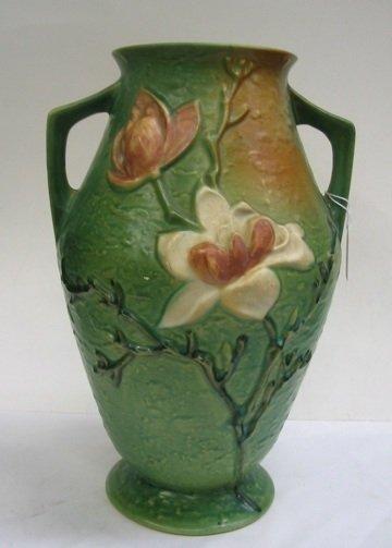 3: ROSEVILLE POTTERY HANDLED VASE in the magnolia  patt