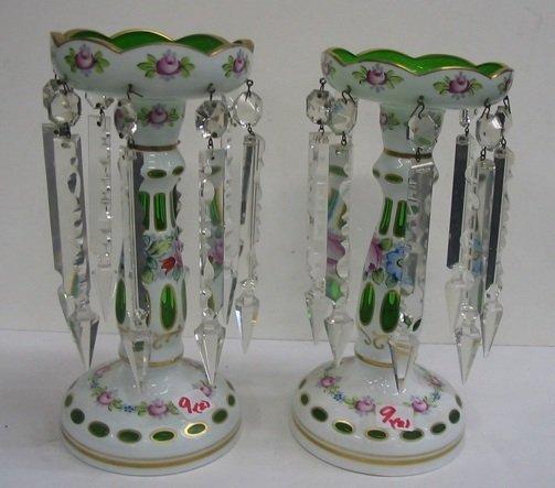 9: PAIR CZECHOSLOVAKIAN ART GLASS LUSTRES. Each  hand p