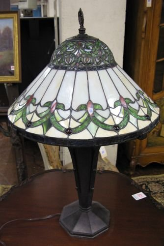 19: A STAINED AND LEAD GLASS TABLE LAMP, two-light