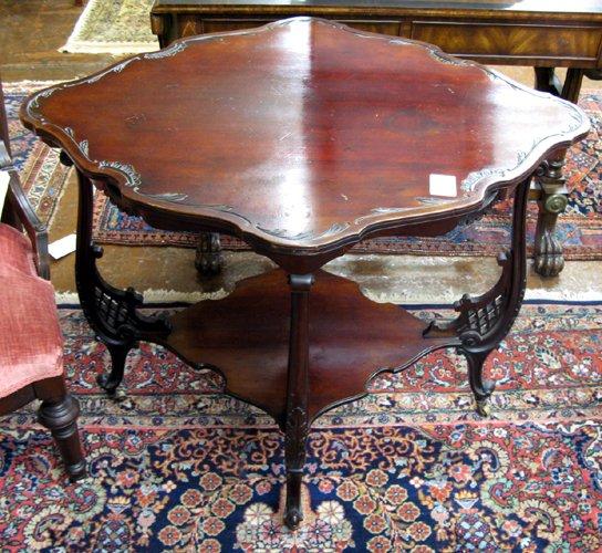 25: LATE VICTORIAN MAHOGANY LAMP TABLE, Louis XV  style