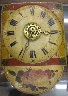 307: A WAG-ON-THE-WALL STYLE CLOCK, painted wood face