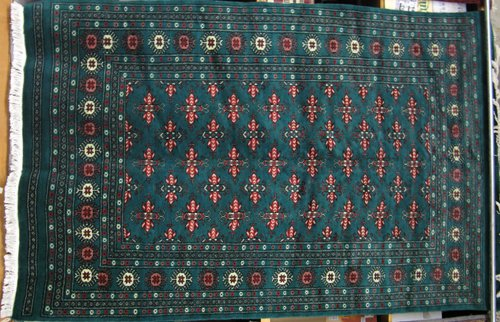 308: PAKISTANI BOKHARA CARPET, hand knotted in a  repea