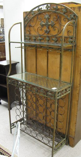 315: WROUGHT IRON WINE ROOM SERVING STAND, having a  49