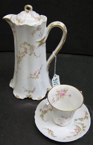 318: LIMOGES FRANCE PORCELAIN CHOCOLATE POT AND 5  CUPS
