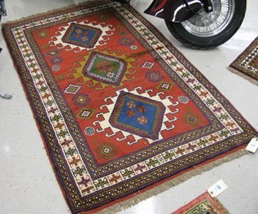 319: TWO HAND KNOTTED ORIENTAL AREA RUGS,  Indo-Persian