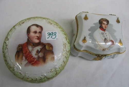 393: TWO LIMOGES FRANCE DRESSER BOXES, decorated with b