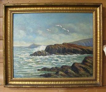 622: CALIFORNIA SCHOOL, oil on panel  Seascape with roc