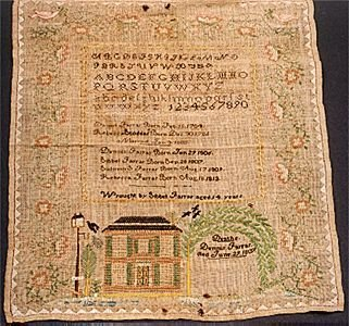 23: AMERICAN 19TH CENTURY CROSS-STITCHED SAMPLER, on ec