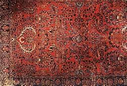 743 SEMIANTIQUE PERSIAN SAROUK AREA RUG the red fiel