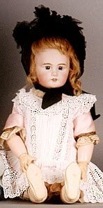 1014: FRENCH BISQUE HEAD DOLL, DEP, red wig, fixed pape