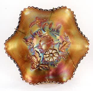 "1: NORTHWOOD ""JOCKEY CLUB"" CARNIVAL GLASS BOWL, ruffled"