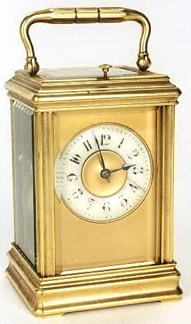15: NINETEENTH CENTURY BRASS CARRIAGE CLOCK. Solid bras