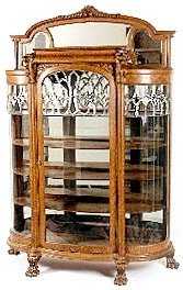 196: FIRST CLASS CURVED AND LEADED GLASS OAK CHINA CABI