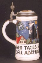 1: A GERMAN METTLACH BEER STEIN, no. 3170, having an et