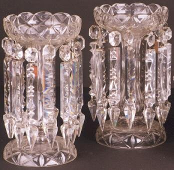 4: PAIR CLEAR CRYSTAL LUSTRES, hand cut with hanging fa