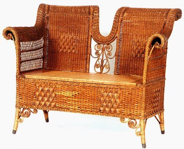 10: WICKER AND MAPLE SETTEE, attributed to the Heywood-