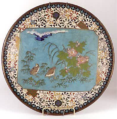 9: JAPANESE CLOISONNE PICTORIAL PLATE, 19th century, ha