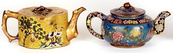 17: TWO CHINESE CLOISONNE TEAPOTS, of low form; one sha