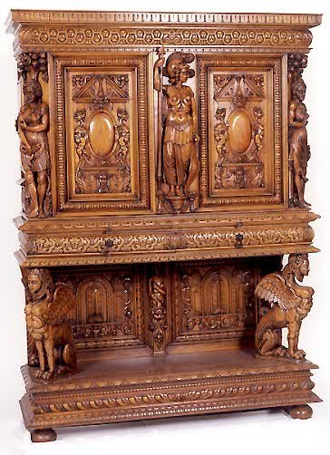 846: PAIR OF HIGHLY CARVED WALNUT CABINET-ON-STANDS, Fr