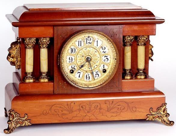 17: SETH THOMAS MANTLE CLOCK, cherry wood case with inc