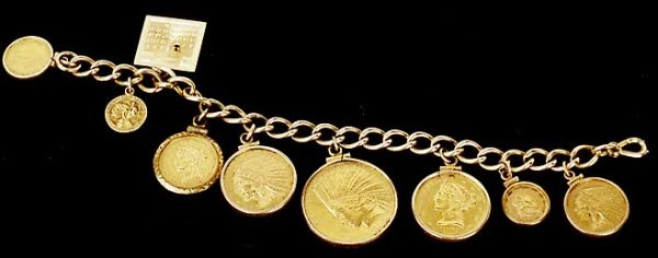 42: U.S. GOLD COIN CHARM BRACELET, the 10K yellow gold
