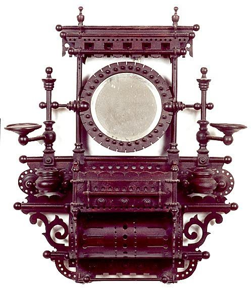 10: VICTORIAN WALL-MOUNT SHAVING STAND, American, mid-1