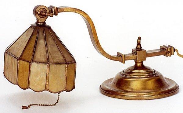 5: AMERICAN LEADED GLASS PIANO LAMP, circa 1915, lacque
