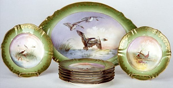 8: NINE PIECE FRENCH PORCELAIN GAME SERVICE, Theo Havil
