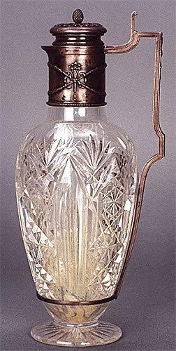 21: CZARIST RUSSIAN SILVER FITTED CUT GLASS EWER, ovoid