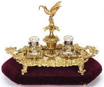 723 A FRENCH STYLE GILT BRONZE DOUBLE INKWELL SET cir