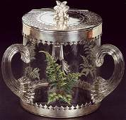 835 A VICTORIAN PRESENTATION GLASS AND SILVER BISCUIT